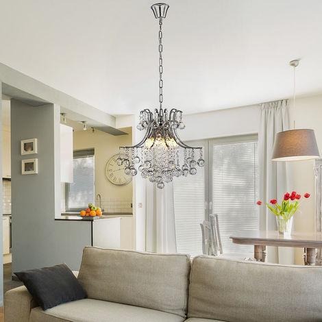 Homcom Modern Crystal Ceiling Lamp 6 Light Droplet Chandelier Pendant Living Room
