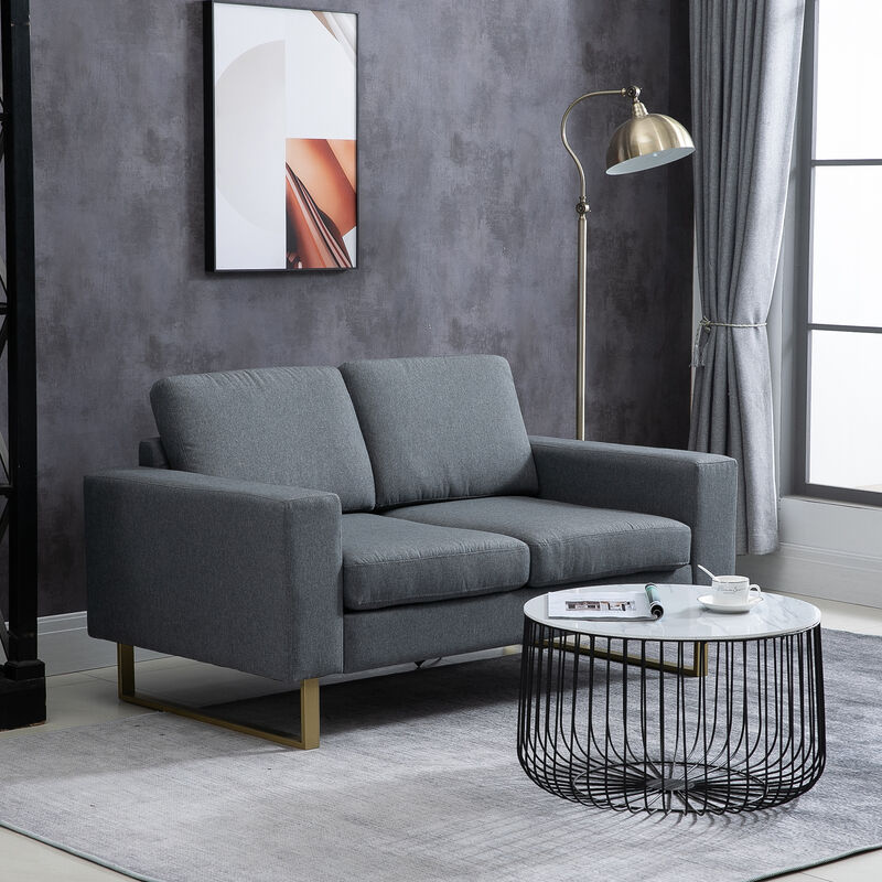 Wondrous Homcom Modern Double Seat Sofa Compact Loveseat Couch Sofabed Padded Linen Upholstery Steel Leg Grey Download Free Architecture Designs Grimeyleaguecom