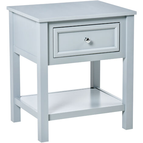 HOMCOM Modern End Table Nightstand Storage Shelf Drawer for Home Office