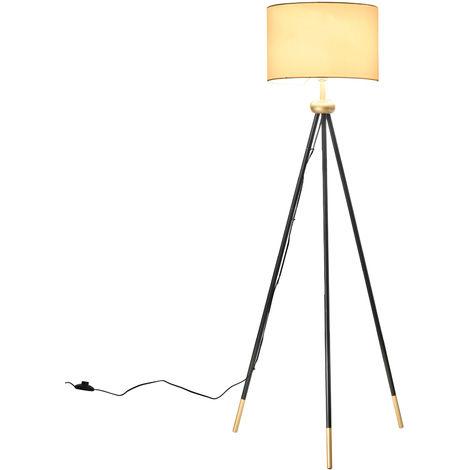 HOMCOM Modern Floor Lamp Standing Lamp E27 Lamp Holder Bedroom Metal Tripod Gold