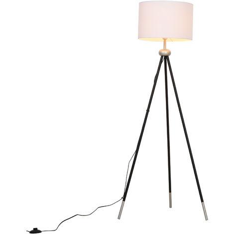 HOMCOM Modern Floor Lamp Standing Lamp E27 Lamp Holder Bedroom Metal Tripod Silver