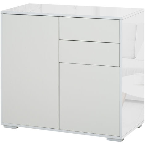 "main image of ""HOMCOM Modern Freestanding Push-OpenCabinet w/ 2 Drawers Cabinet Storage White"""