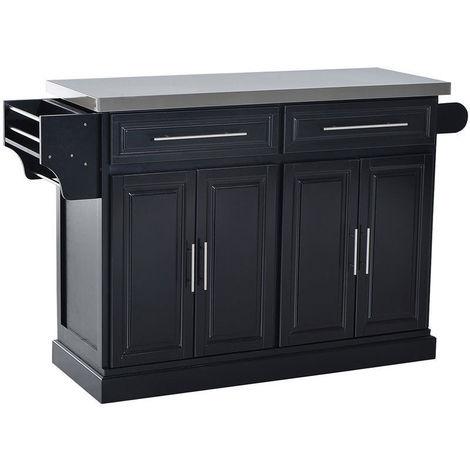 Homcom Modern Kitchen Cart Mobile Cabinet Trolley W 2