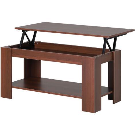 "main image of ""HOMCOM Modern Lift Up Top Coffee Table Desk Hidden Storage 100W x 50D x 63H cm"""