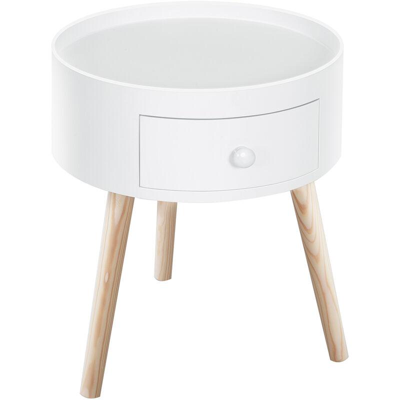 Homcom Modern Round Coffee Table Wooden Side Table Living Room Wood Leg White