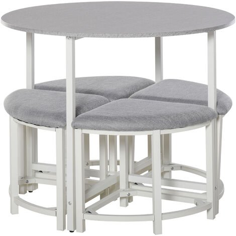 HOMCOM Modern Round Dining Table Set w/ 4 Stools Dining Living Room Home