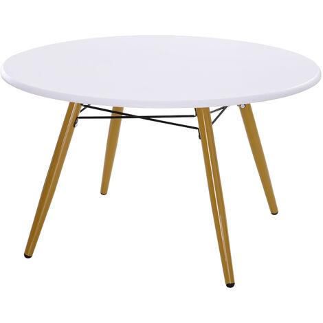 HOMCOM Modern Scandinavian Round Coffee Side Table White 80x45cm