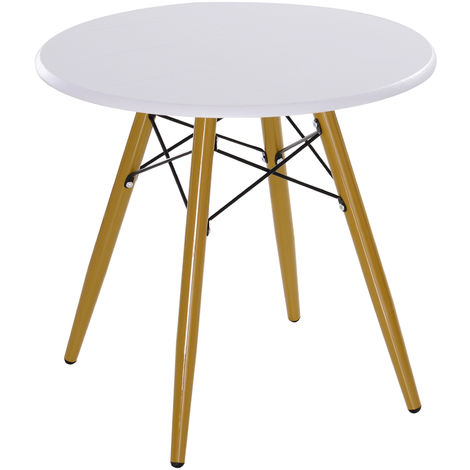 HOMCOM Modern Scandinavian Round Coffee Side Table With Solid Pine Legs White 60x55cm