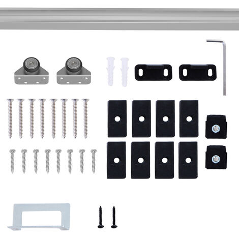 "main image of ""Homcom Modern Sliding Barn Door Closet Hardware Track Kit for Single Wooden Door"""