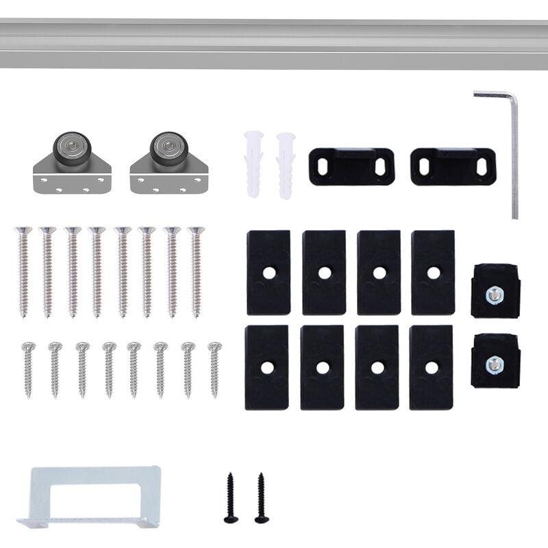 Homcom Modern Sliding Barn Door Closet Hardware Track Kit For Single