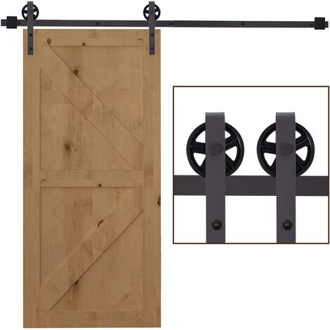 Homcom Modern Sliding Barn Door Closet Hardware Track Kit for Single Wooden Door