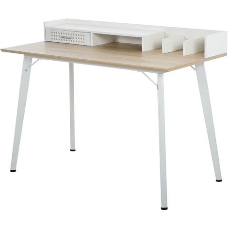 HOMCOM Modern Study Desk Home Office Workstation Steel Frame Wide White