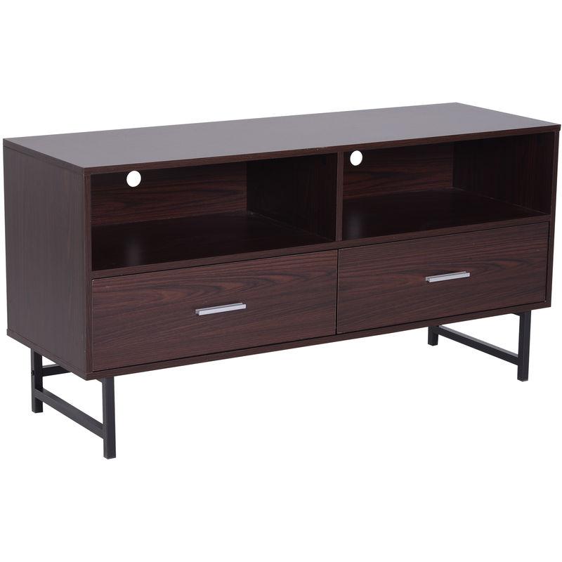 Fantastic Homcom Modern Tv Stand Cabinet Storage Sleek Storage Cabinet 2 Drawers Brown Download Free Architecture Designs Grimeyleaguecom
