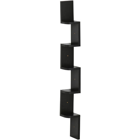 HomCom Moderna Libreria da Parete con Mensole in Legno MDF, Nero, 12x12x120cm
