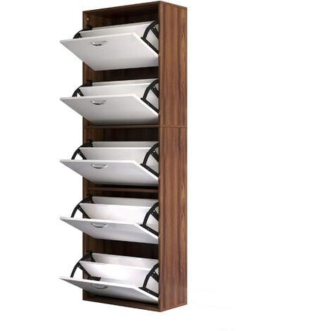 HomCom Moderna Scarpiera in Legno con 5 Scomparti per 30 Paia di Scarpe, 60x28x189cm