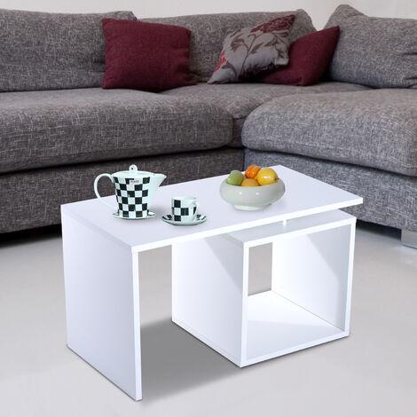 Homcom Moderno Tavolino Da Salotto In Legno Mdf Bianco Opaco