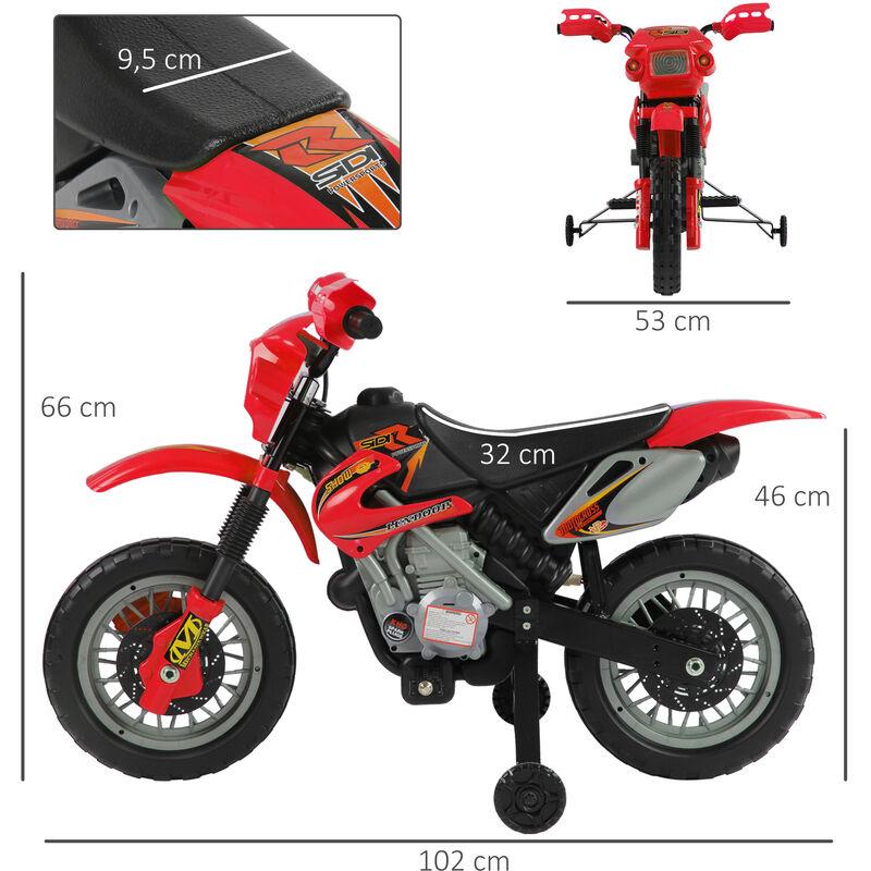 8013a03bc HOMCOM Moto Electrica Infantil Bateria 6V Recargable Niños 3 Años Cargador  y Ruedas Apoyo COLOR ROJO - 52-0018