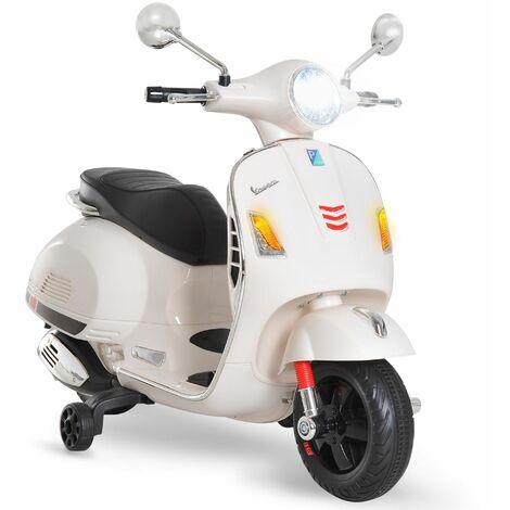 HOMCOM Moto Eléctrica Infantil Coche Triciclo Vespa Scooter Eléctrico Luces MP3 Bocina - Blanco