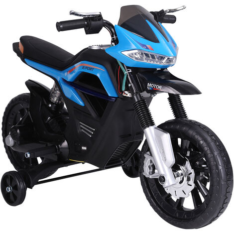 HOMCOM Moto Eléctrica Infantil Moto de Juguete Niños +3 Años 6V con Luces y Música - Azul