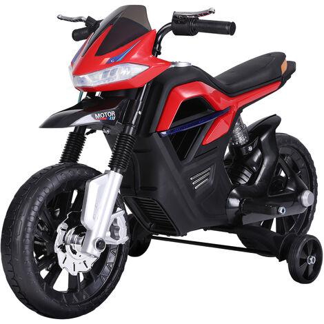HOMCOM Moto Eléctrica Infantil Moto de Juguete Niños +3 Años 6V con Luces y Música - Rojo