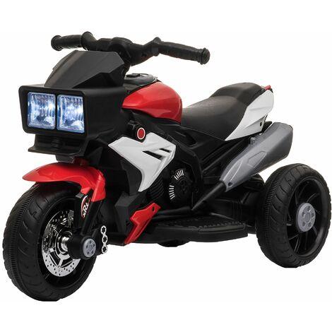 HOMCOM Moto Eléctrica para +3 Años con Luces Música Neumáticos Anchos 86x42x52 cm - Rojo