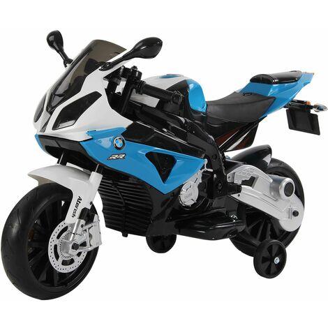 HOMCOM Moto Eléctrica para Niños +3 Años 12V BMW Faros Bocina Velocidad Máx. 5km/h Azul - Azul