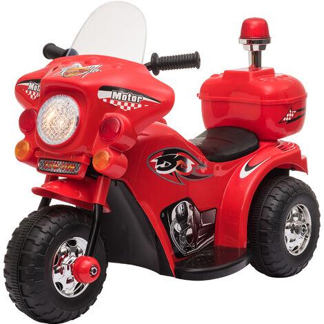 HOMCOM Moto Eléctrica para Niños de +18 Meses con Música Bocina Faros 80x35x52 cm - Rojo