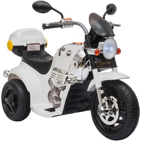HOMCOM Moto Triciclo Eléctrico para +18 Meses con Música y Bocina Faros 87x46x54 - Blanco