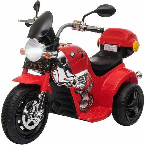 HOMCOM Moto Triciclo Eléctrico para +18 Meses con Música y Bocina Faros 87x46x54 - Rojo