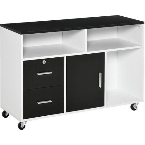 "main image of ""HOMCOM Mueble auxiliar de Oficina con Armario Cajones estantes multiusos 100x35x65 cm - Negro"""