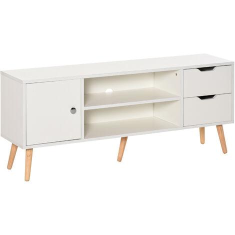 HOMCOM Mueble de TV 120x28x44cm con Armario Estantes Abiertos Cajones Carga 30kg Blanco - Blanco