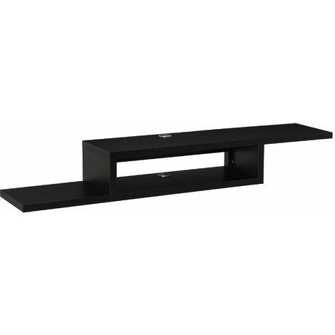 HOMCOM Mueble de TV Mesa Flotante para Televisión de 60 Pulgadas con 2 Estantes Madera - Negro