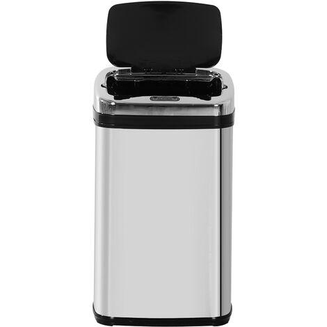 HOMCOM® Mülleimer Edelstahl Automatik Sensor 30L Abfalleimer IR Sensor (viereckig) - silber