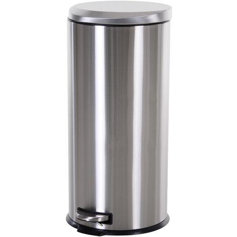HOMCOM® Mülleimer Treteimer 30 L Abfalleimer mit Inneneimer Soft Schließen Edelstahl PP Ø29,2 x H62,5 cm - silber/schwarz