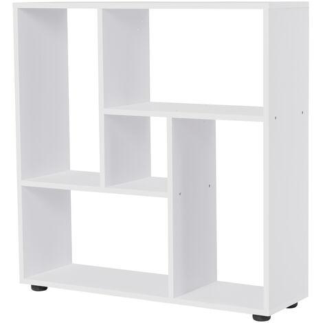 "main image of ""HOMCOM Multi-Directional Shelf Bookcase Home Display Storage w/ Foot Pad White"""