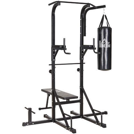 HOMCOM Multi Function Full Body Power Tower Dip Station Home Gym w/ Punching Bag
