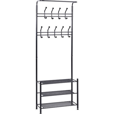 HOMCOM Multi-purpose Metal 18 Coat Hooks Shoes Rack Umbrella Stands - Black