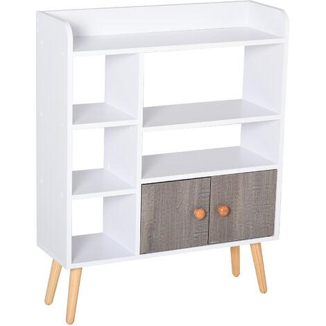"main image of ""HOMCOM Multi-Shelf Bookcase Freestanding Storage Cabinet Shelves Wood Legs White"""
