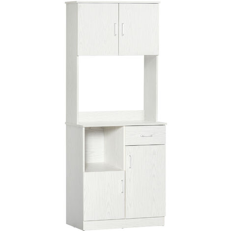 HOMCOM Multi-Storage Freestanding Kitchen Cabinet Pantry Unit Modern White