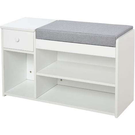 HOMCOM Multi-Storage Shoe Bench Drawer 3 Compartments Cushion Home Boots White