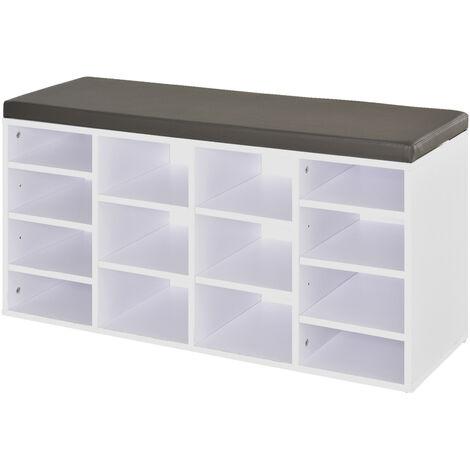 HOMCOM Multi-Storage Shoe Rack 14 Compartments Cushion Moving Shelves Home White