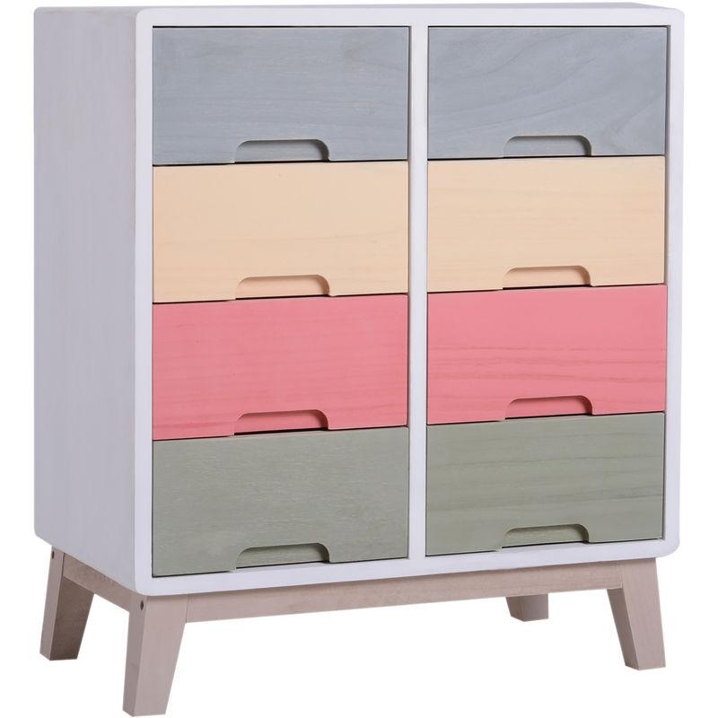 Homcom Multicoloured Wood 8 Drawer Chest Storage Bedside Hallway