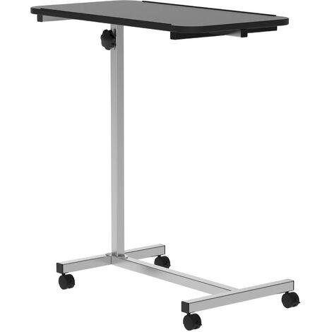HOMCOM Multipurpose Overbed Chair Table Height Adjustable 4 Castors Lockable