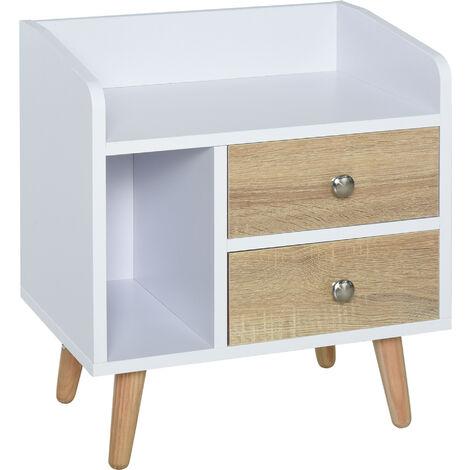HOMCOM® Nachttisch mit 2 Schublade Erhöhter Nachtschrank Schlafzimmer Massivholz Beinen