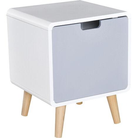 HOMCOM® Nachttisch Nachtkommode Schlafzimmer MDF weiß L40 x B38 x H50cm - weiß