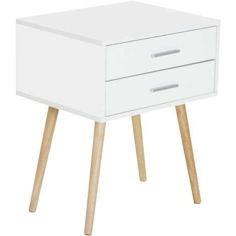 HOMCOM® Nachttisch Nachtschrank Nachtkommode Konsole Beistelltisch 2 x Schublade Holz 48 x 40 x 60 cm - weiß/natur