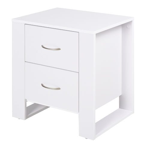 """main image of """"HOMCOM Nordic Style 2 Drawers Side Cabinet Bedside Table Storage Chest White"""""""