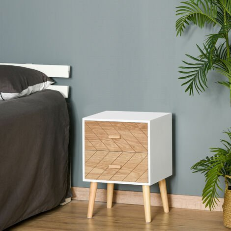 HOMCOM Nordic Style 2 Drawers Side Cabinet Wooden Bedside Scandinavian