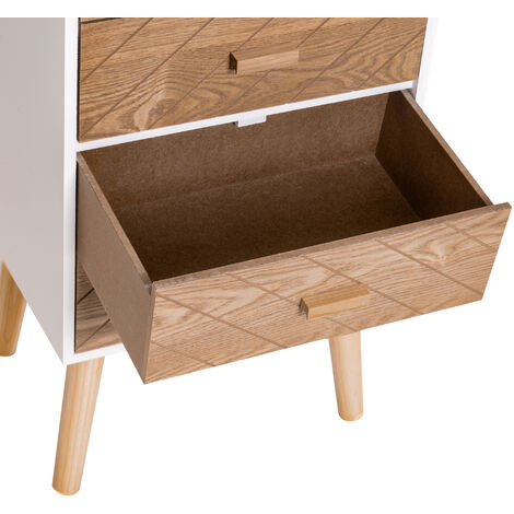 HOMCOM Nordic Style 4 Drawers Bedside Cabinet Wooden Night Stand Scandinavian