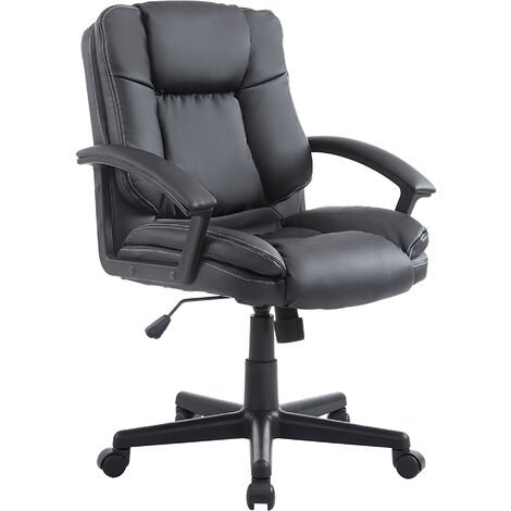 """main image of """"HOMCOM Office Chair PU Leather Swivel Executive Armchair PC Desk Computer Seat Height Adjustable (Black)"""""""